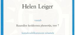 Helen Leigeri kutsetunnistus nr 109259