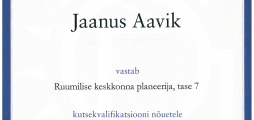Jaanus Aaviku kutsetunnistus nr 116149